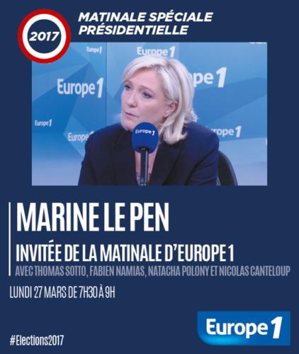 Marine Le Pen, invitée de la matinale